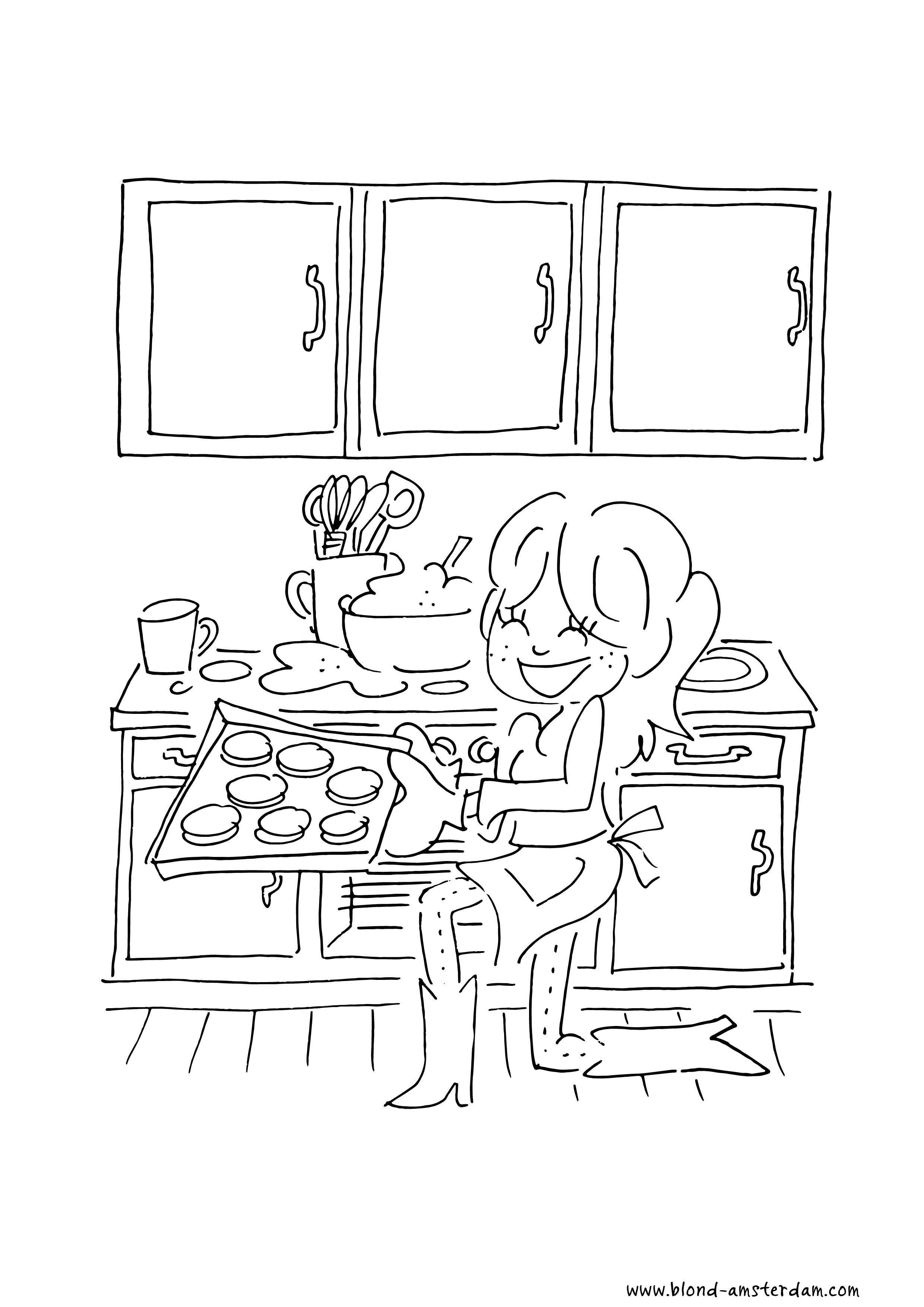 Blond kleurplaat meisje bakken