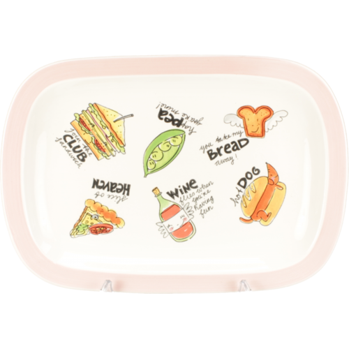 Serving Platter ø37cm cream/pink