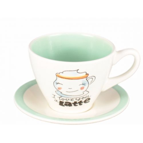 Cup and saucer cappuccino creme/green