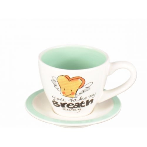 Cup and saucer espresso creme/green