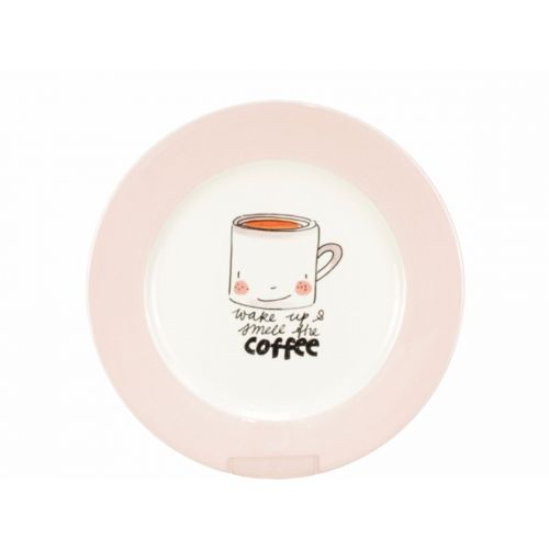 Breakfast Plate ø22cm cream/pink
