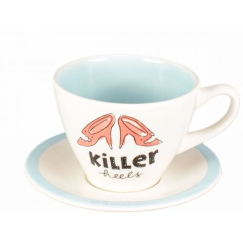 Cup and saucer cappuccino creme/blue