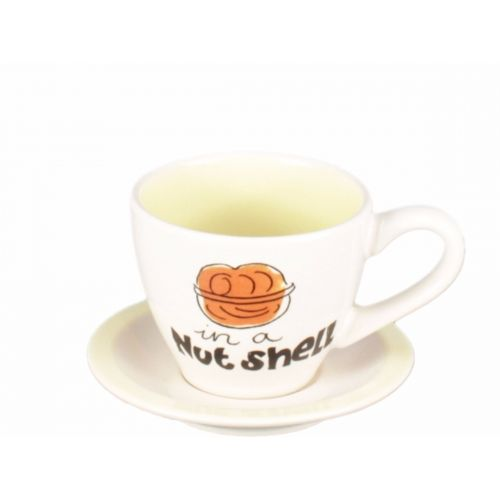 Cup and saucer espresso creme/yellow