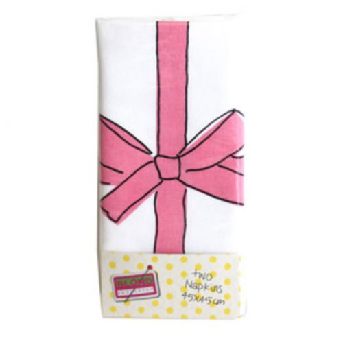 2 katoenen servetten Roze Strik