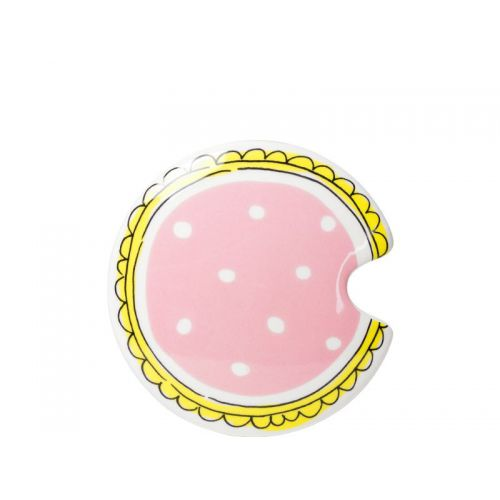 Lid mug with pink with white dots