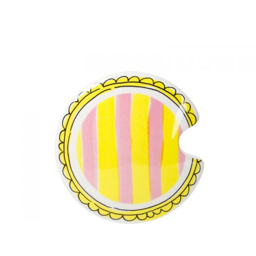 Lid mug with light pink and yellow stripes