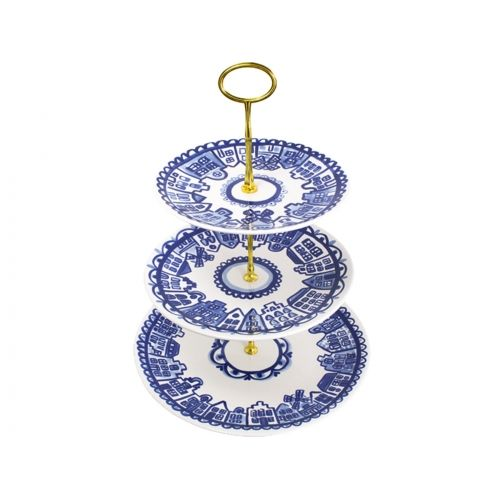 3 tier Cake Stand Delfts Blond