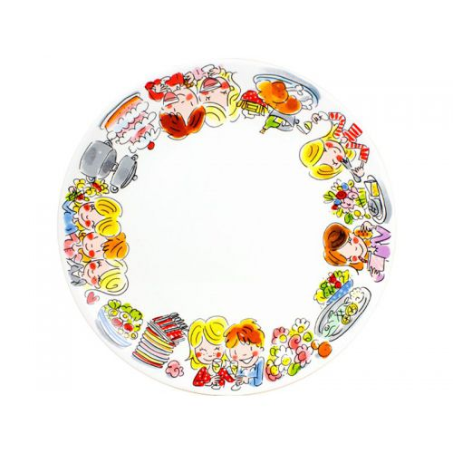 Dinner plate ø26cm half illustrated