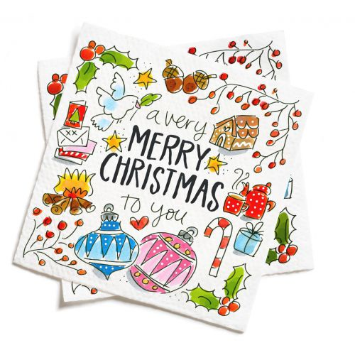 Set of 20 Napkins Merry Christmas
