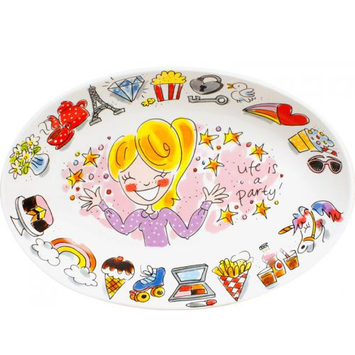 Oval plate ø28,5cm Life is a Party