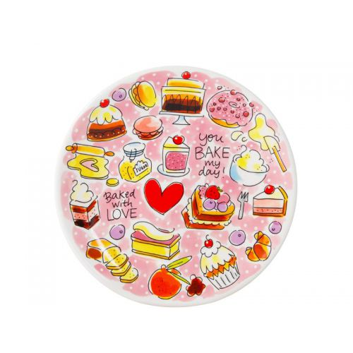 Ontbijtbord ø22cm roze Cake