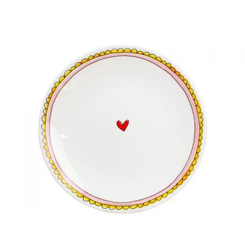 Nieuw - Ontbijtbord ⌀22cm Roze Rand met hartje