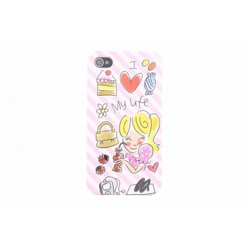 iPhone case 4/4s roze - I love my life