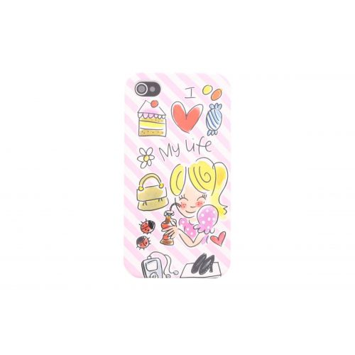 Phone case Iphone 4/4s pink - I love my life