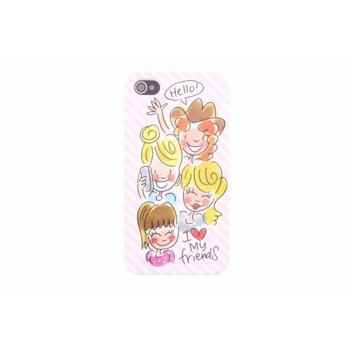 iPhone case 4/4s licht roze - I love my friends