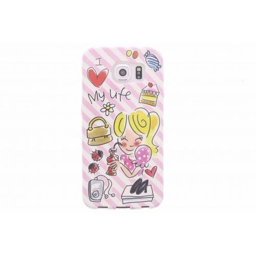 Samsung Galaxy case S6 roze - I love my life