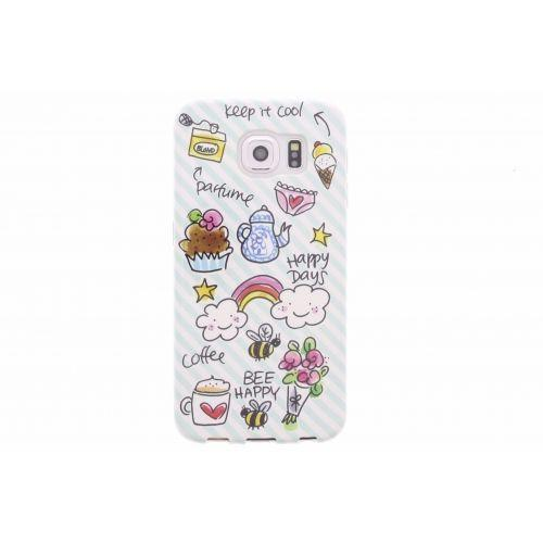 Samsung Galaxy case S6 groen - Happy days