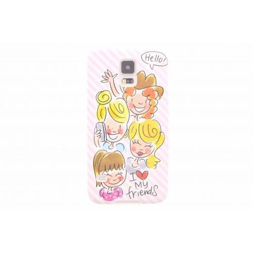Samsung Galaxy case S5 licht roze  - I love my friends