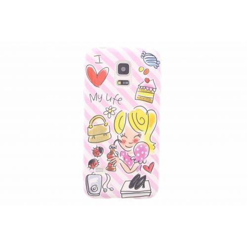 Samsung Galaxy case S5 mini roze - I love my life