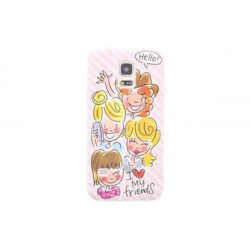 Samsung Galaxy case S5 mini licht roze - I love my friends