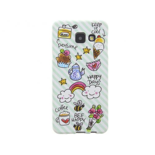 Samsung Galaxy case A3 (2016) green - Happy days