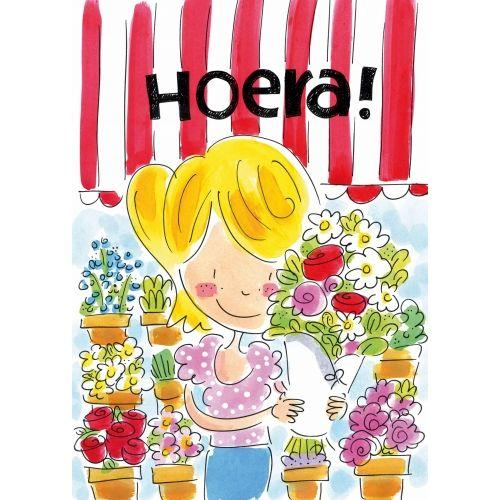 A4 Card - hoera, bloemen