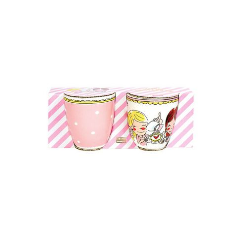 Set Mini Mugs Dot and Pink Rim 0,2L