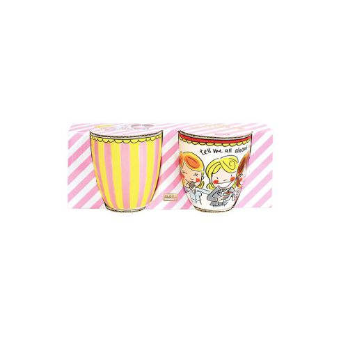 Set mini mugs Stripe and Red text 0,2 L