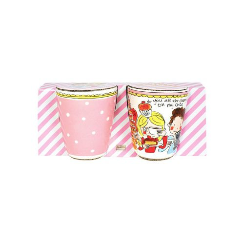 Set Mugs Dot and Pink Rim 0,35L