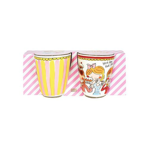 Set Mugs Stripe and Red Rim 0,35L