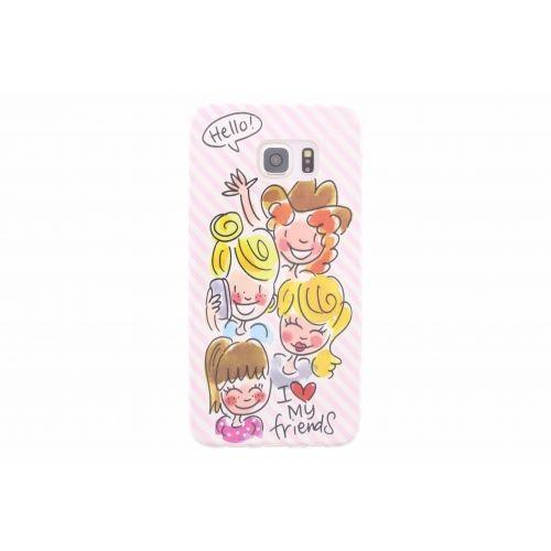 Samsung Galaxy case S6 edge plus licht roze - I love my friends