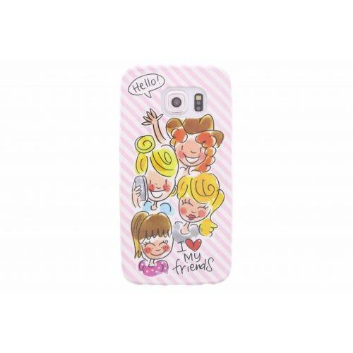 Samsung Galaxy case S6 edge licht roze - I love my friends