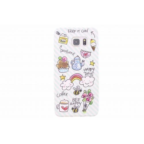 Samsung Galaxy Case S6 edge plus groen - Happy days