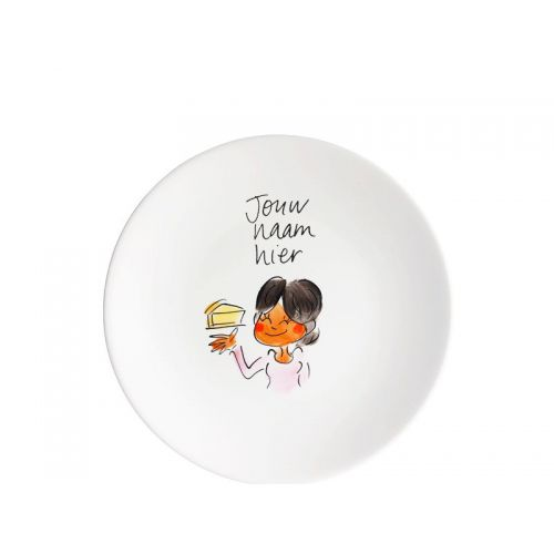 Personalised cake plate dark brown hair girl